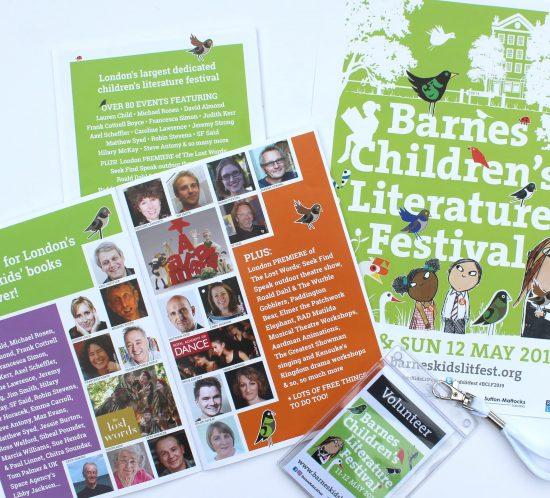 barnes Childrens literature festival programme and promo items