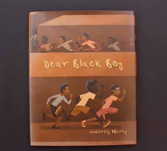 Dear Black Boy book cover showing boys running in maze