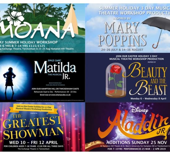 dramacube promotional banners for productions Moana, Mary Poppins, Matilda, beauty and the beast, greatest showman and Aladdin