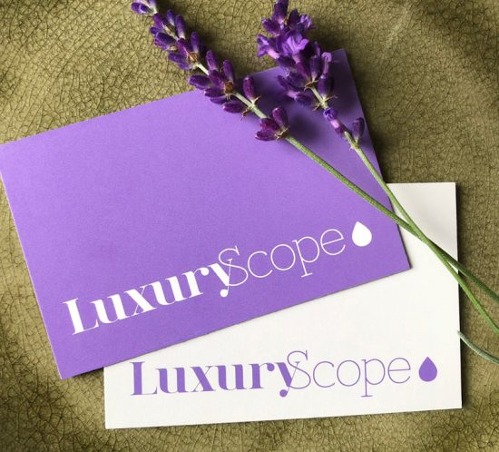 Luxury scope business cards with lavender